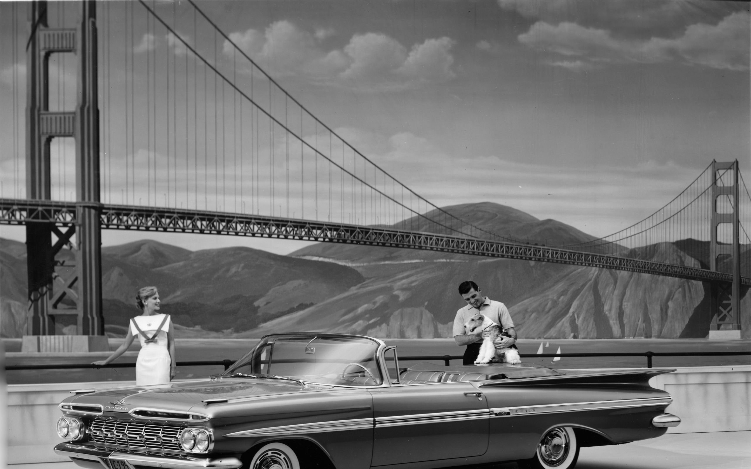 Vintage Bridges Vintage Cars Golden Gate Bridge Monochrome