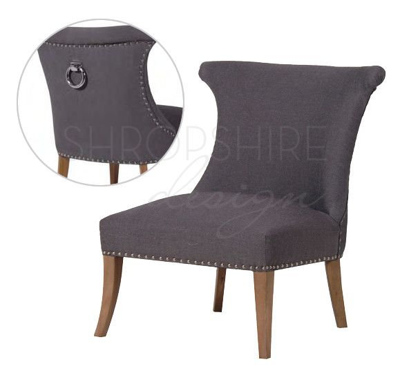 Wide Studded Dining Chair With Silver Ring
