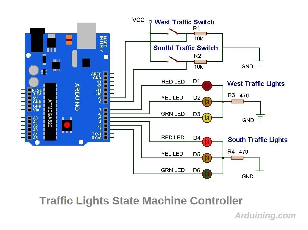 Wiring Diagram For Stop Lights Free Download Diagrams Traffic Light Arduino With Led Display Timer Push Button Switch Circuit