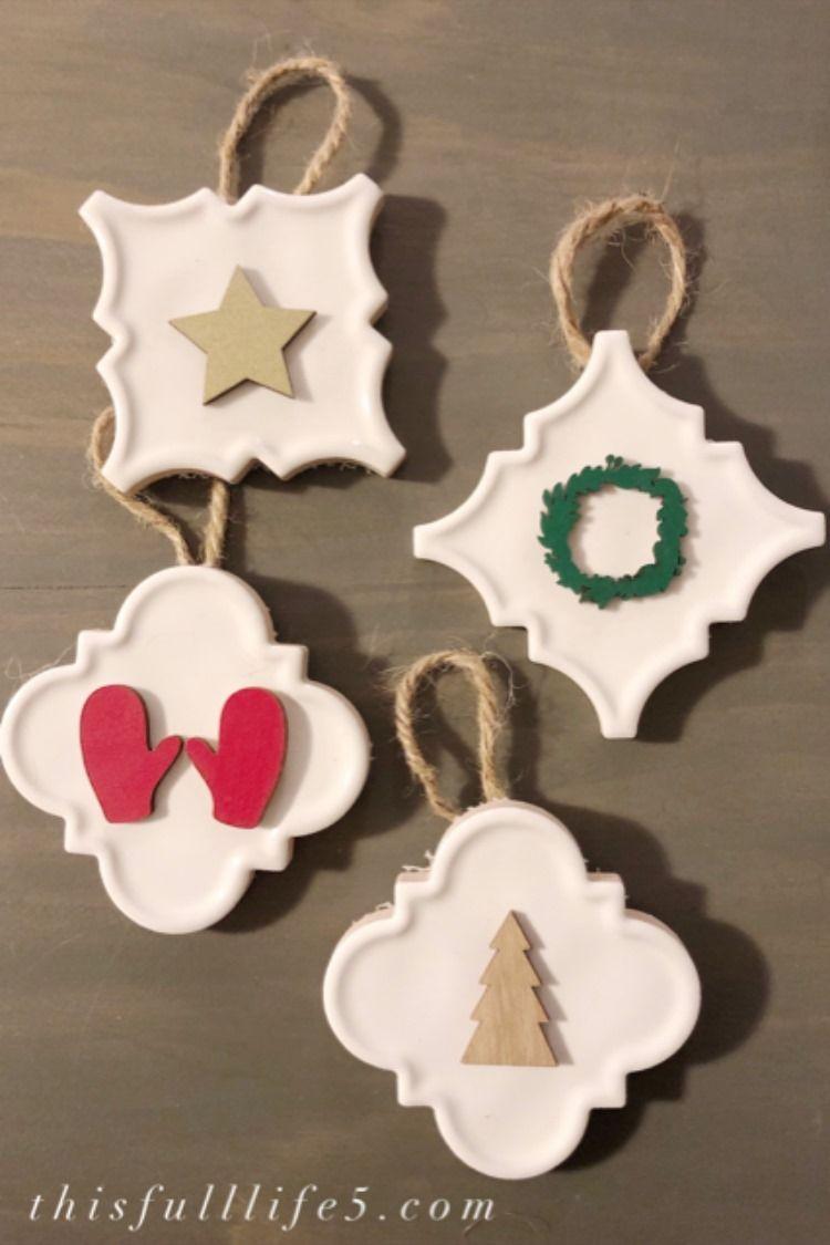 Diy Christmas Tile Ornaments Christmas Diy Christmas Ornaments Farmhouse Christmas Decor