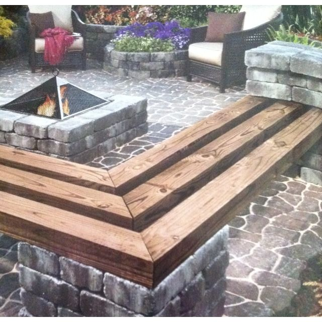 Stone And Wood Bench: I Like The Use Of The Stone For The Benches, Fire Pit, And
