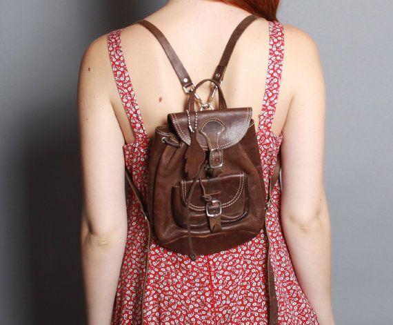 Vintage 90s Mini LEATHER BACKPACK / Dark Brown Backpack Purse ...