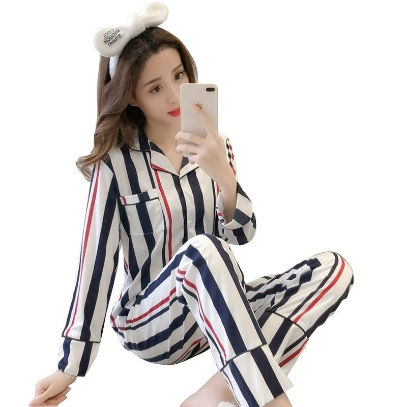 b0cd111bd6 New Women Pajamas Sets autumn Long Sleeve Cartoon Print Cute Sleepwear Girl  Pijamas Mujer Leisure Nightgown Adult clothes