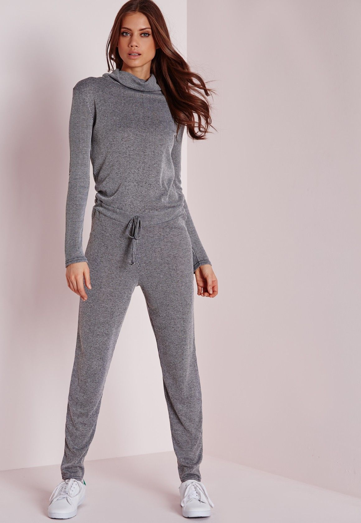 262d071629a Missguided - Long Sleeve Ribbed Drawstring Jumpsuit Grey