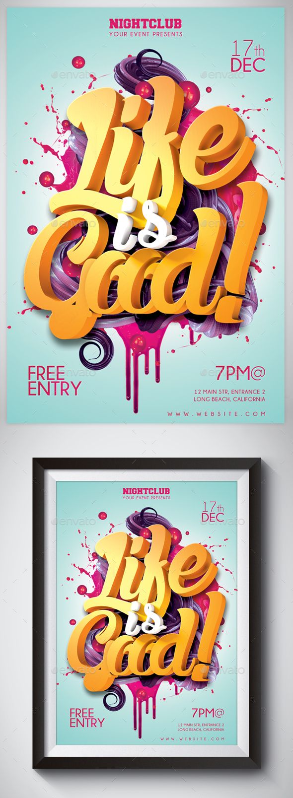 Life Is Good 3D Typography Flyer
