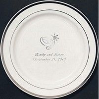 7 Inch Silver Trim Plastic Dessert Plates | My Wedding Reception Ideas  sc 1 st  Pinterest & 7 Inch Silver Trim Plastic Dessert Plates (Set of 25) | Plastic ...