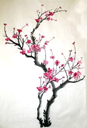 Cherry Blossom Paintings Original Chinese Painting Oriental Art Watercolour Lovely Cherry Blossom Tree No 79 Cherry Blossom Painting Cherry Blossom Art Blossoms Art