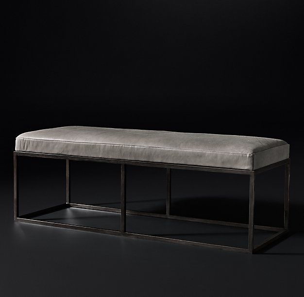 Rh Modern S Alton Leather Bench Rich Leather Paired With