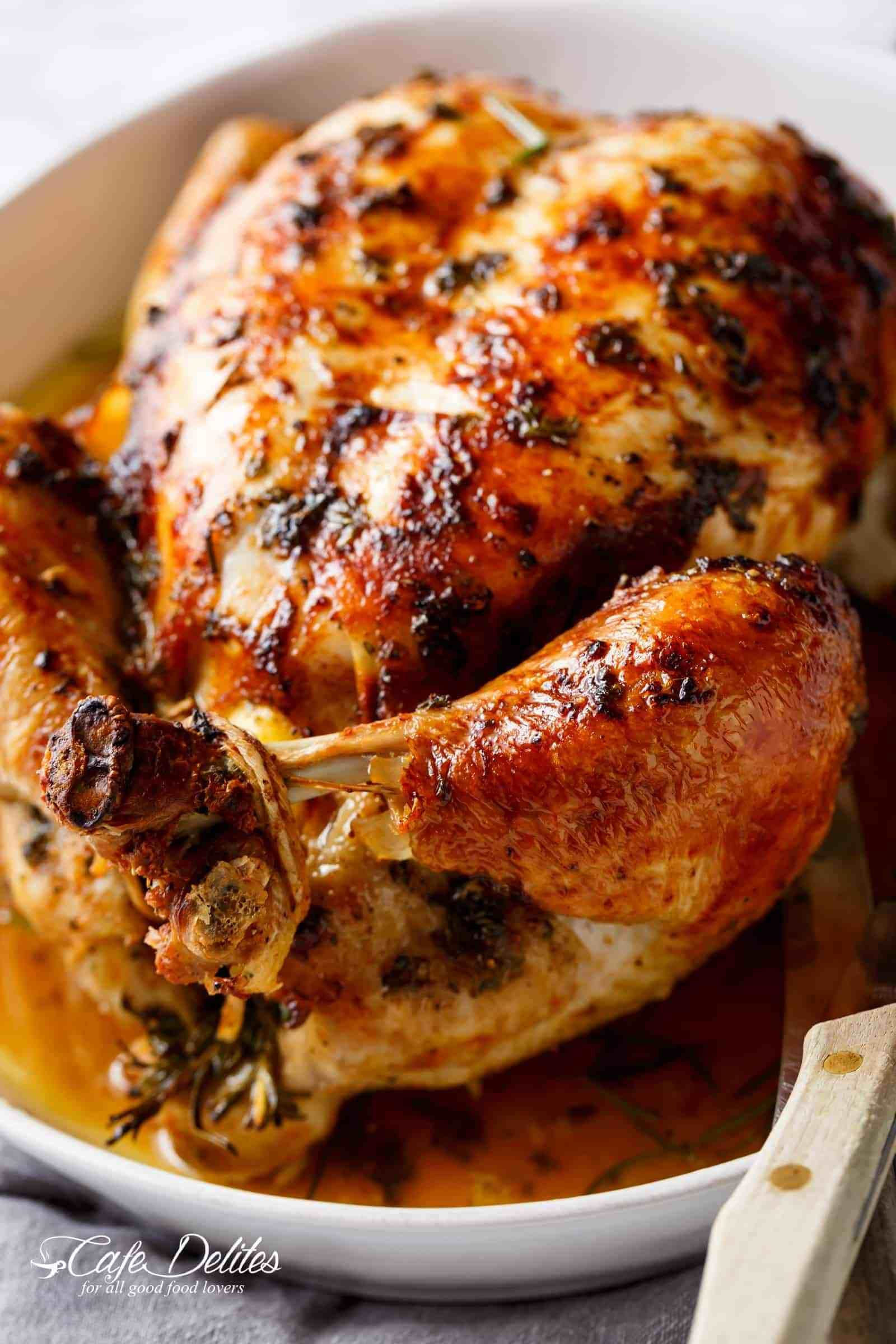 Garlic Herb Butter Roast Chicken Packed With Unbelievable Flavours Crispy Skin A Baked Whole Chicken Recipes Whole Chicken Recipes Oven Roast Chicken Recipes