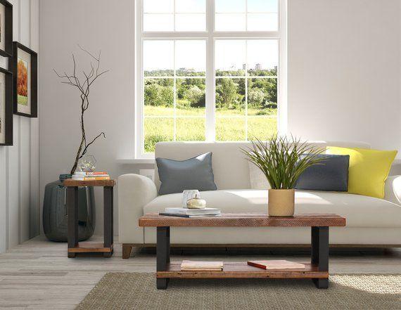 Rustic wood coffee table with shelf and metal legs modern rustic