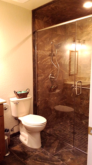 this dreamy hall bathroom has gorgeous floor tile that