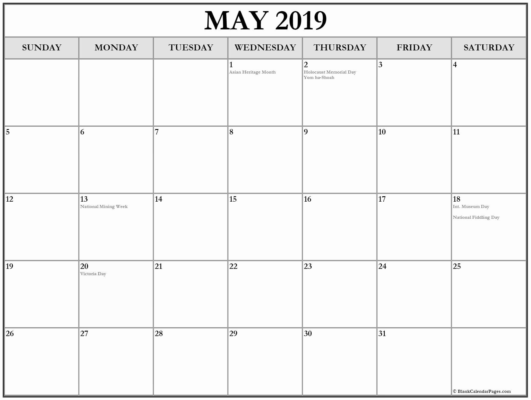 Blank Calendar May 2019 Template Pdf Word Excel 2019 Calendar