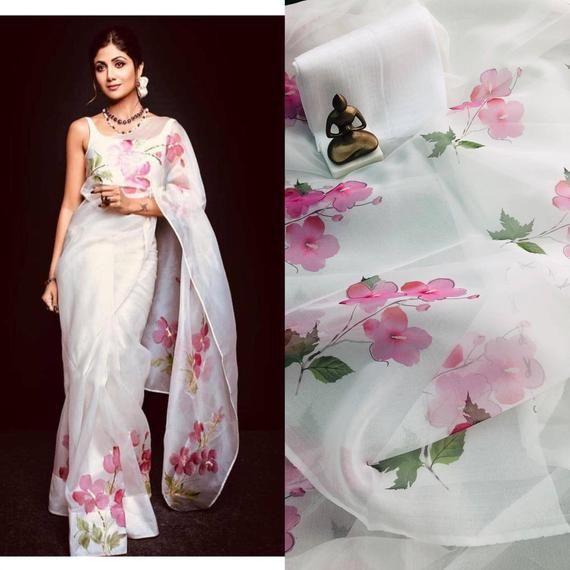 Photo of Organza silk saree / white saree/ designer saree/ saree for women/ wedding saree/ indian saree/ beautiful saree/ sarees/ saree blouse/ saree