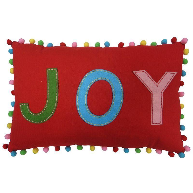 St. Nicholas Square® ''Joy'' Oblong Throw Pillow, Red