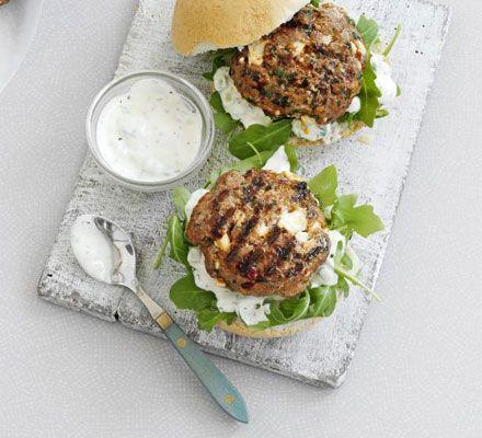Spiced lamb & feta burgers