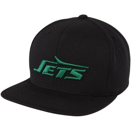 f72fd2eec Mitchell   Ness New York Jets Throwback Basic Vintage Logo Snapback Hat -  Black