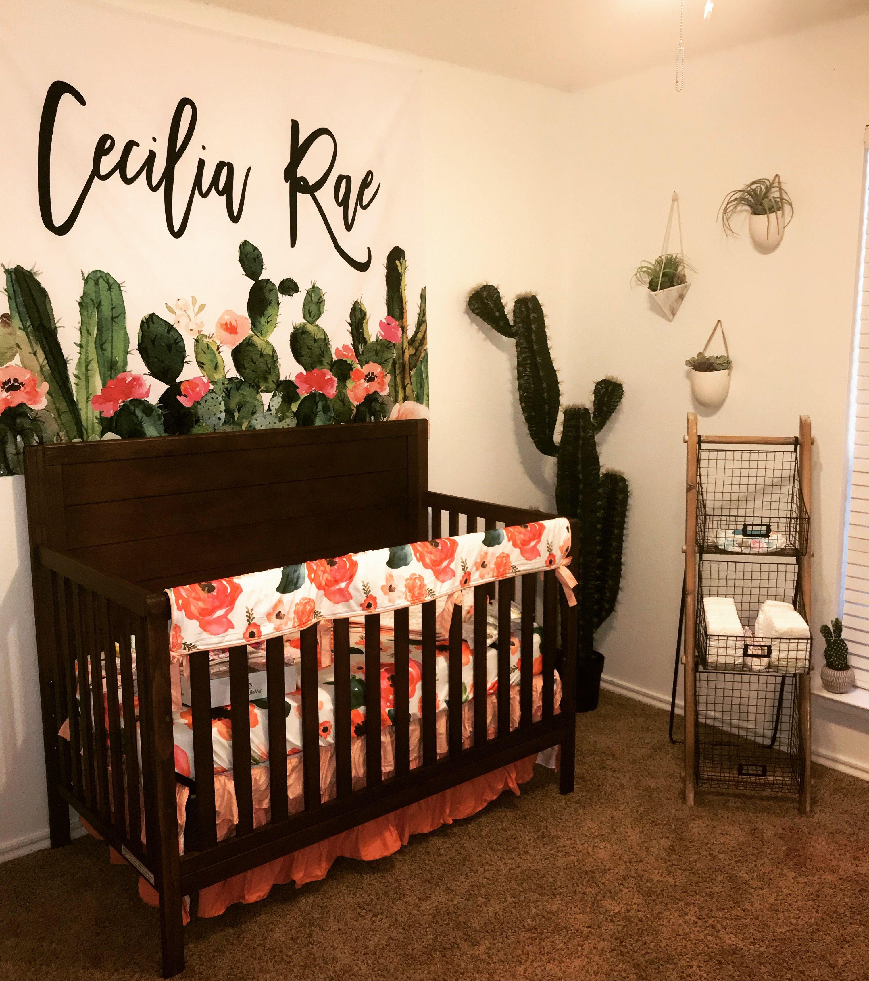 Boho cactus nursery Baby nursery decor, Girl nursery
