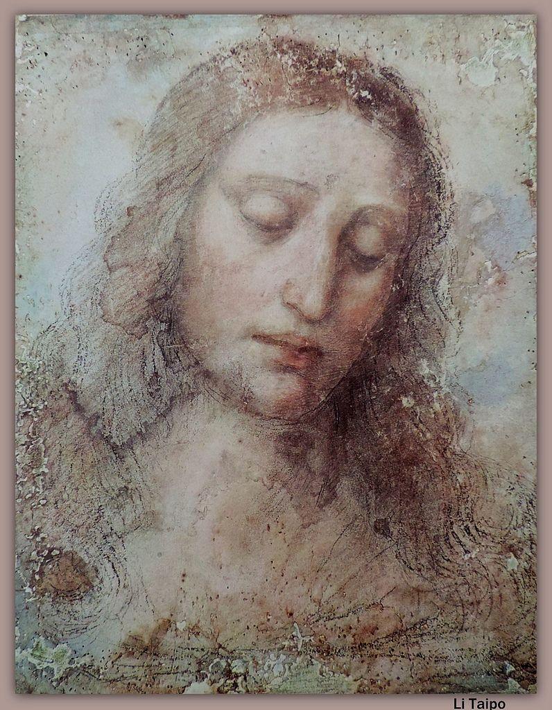 Leonardo Da Vinci Vinci 1452 Castillo De Cloux Amboise 1519 Y Posteriores Retoques Cabeza De Cristo Da Vinci Painting Leonardo Da Vinci Renaissance Art