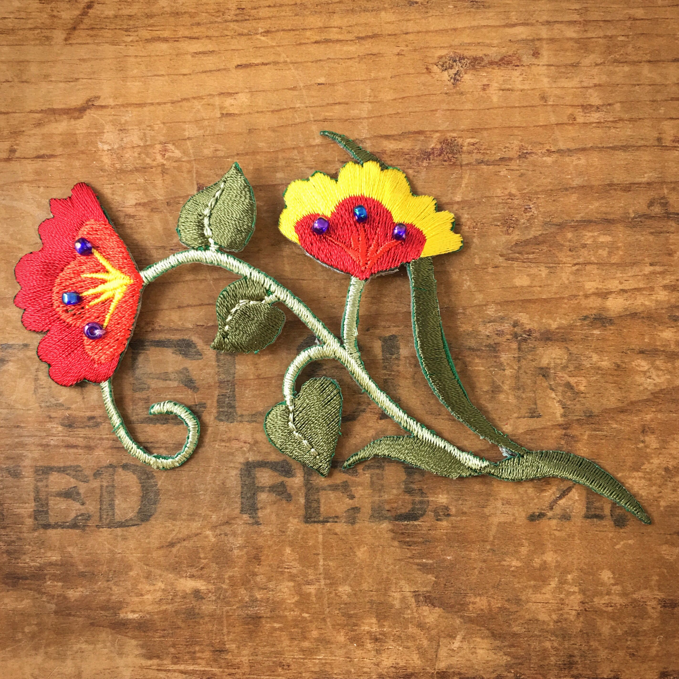 Embroidered Floral Vine Iron Appliqu With Red And Yellow Flowers