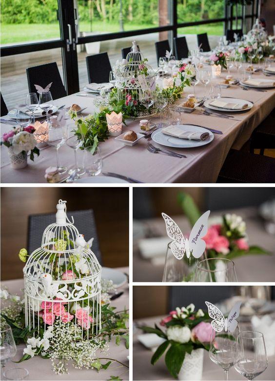 Plan de table origami cage centre de table papillons marque-place ...