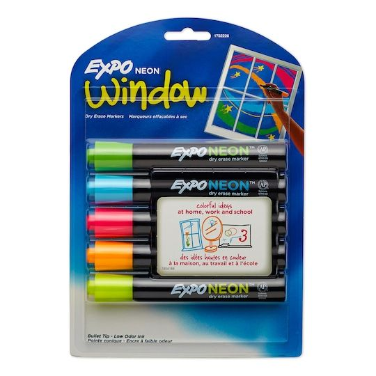 Find the Expo® Neon Dry Erase Markers, 5ct. at Michaels. com. Expo Neon markers can be used on both black and white dry erase surfaces and are visible from a distance. Expo Neon markers can be used on both black and white dry erase surfaces and are visible from a distance. The ink is ideal for use in both the classroom or the kitchen. Colors include 1 each of pink, orange, and yellow, green, and blue. Details: Includes assorted neon colors Includes 5 markers, Bullet tip Non-toxic Conforms to AST