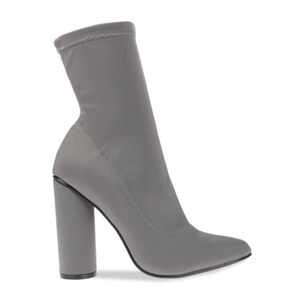 Maddie Pointed Ankle Boot In Grey Lycra (£30) ❤ liked on Polyvore featuring shoes, boots, ankle booties, heels, gray booties, gray ankle boots, heeled ankle boots, grey ankle booties and short heel boots