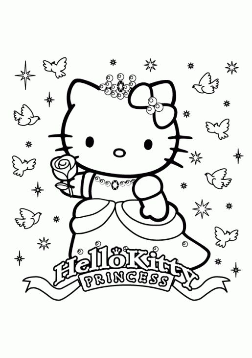 Princess Hello Kitty Free Girls Coloring Page Printable