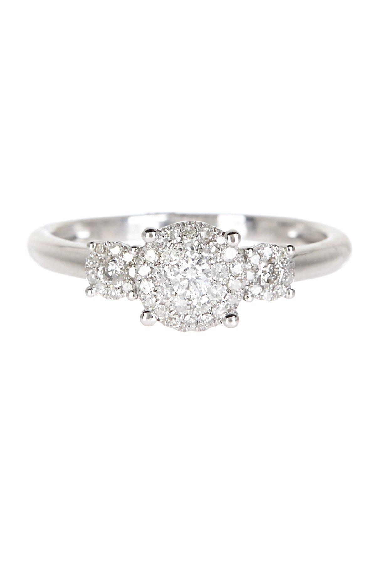 14K White Gold Triple Pave Diamond Ring FASHION GIFTS FOODS