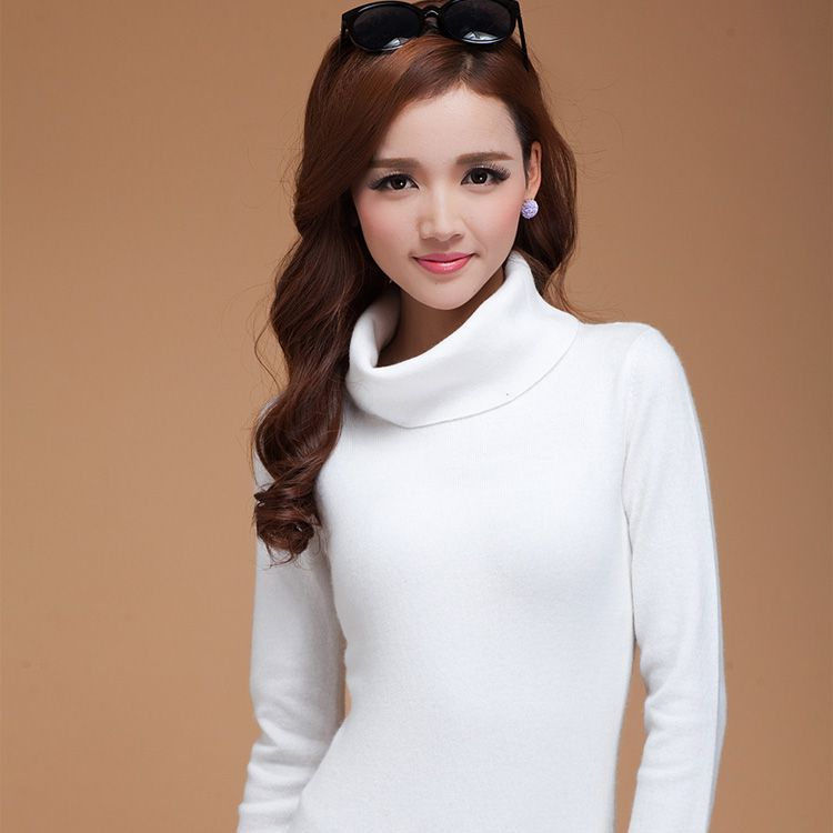 winter turtleneck 100% cashmere sweater female design slim wool ...
