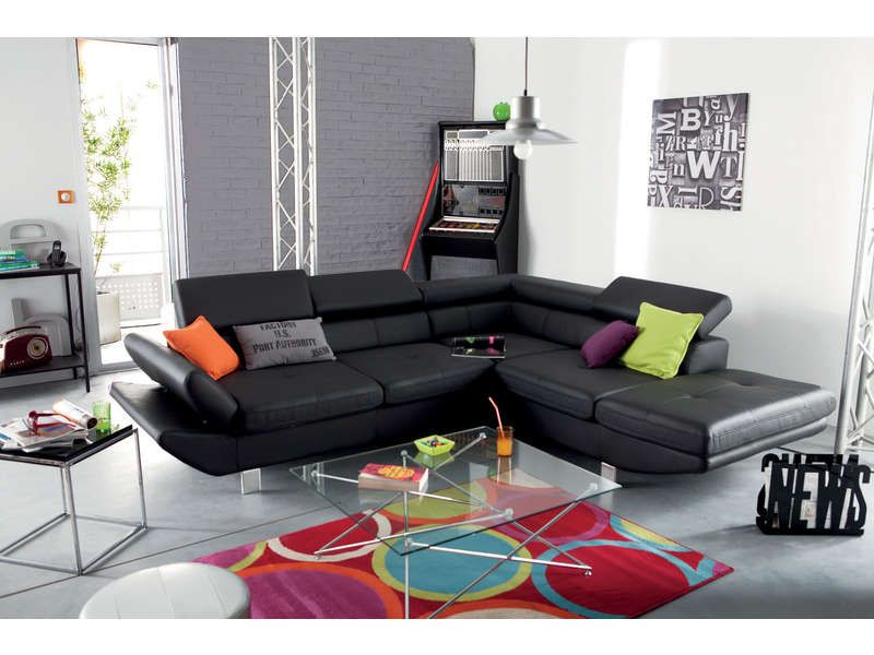 Canap d 39 angle fixe droit 5 places loft meubles pas cher couch furniture et home decor - Canape loft conforama ...