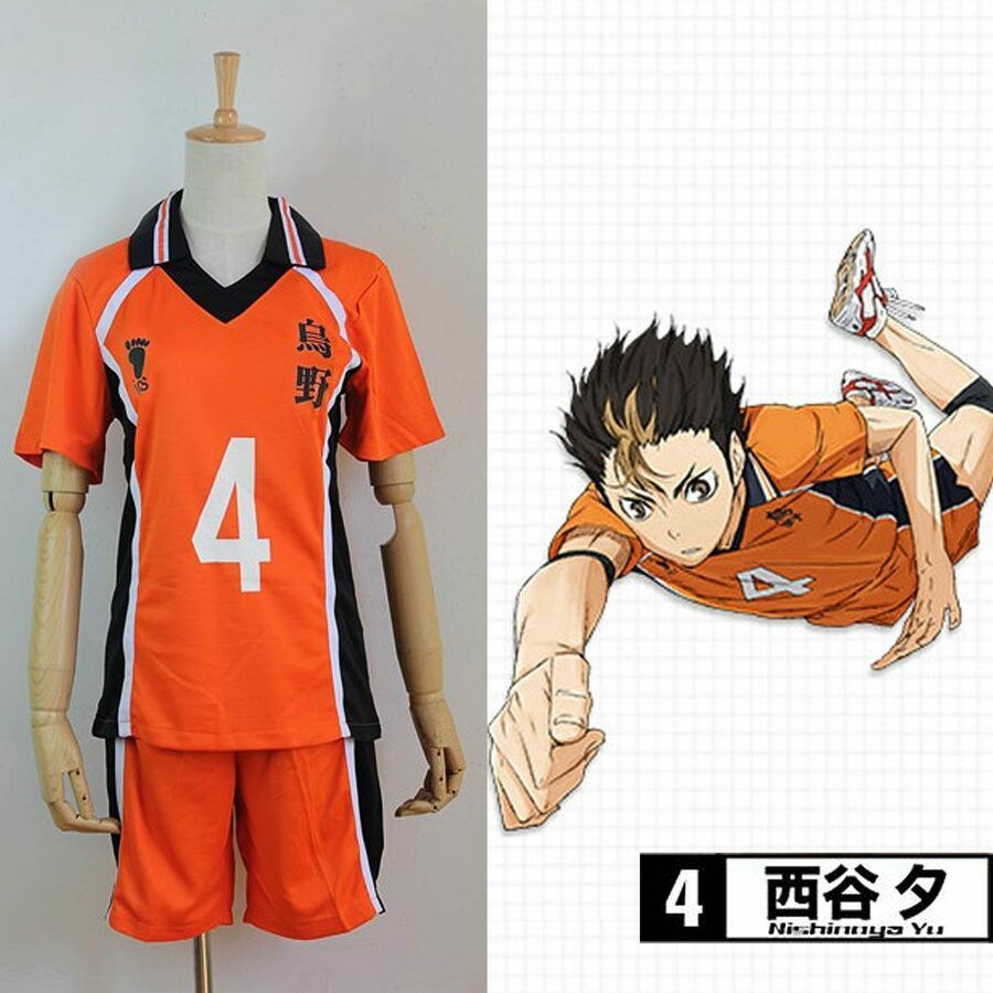 Haikyuu Karasuno High School Uniform Jersey No 4 Yuu Nishinoya Cosplay Costume Affiliate School Uniform High High School Uniform School Uniform Haikyuu