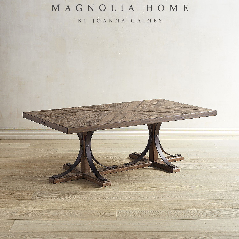 Magnolia Home Iron Trestle Shop Floor Coffee Table Brown