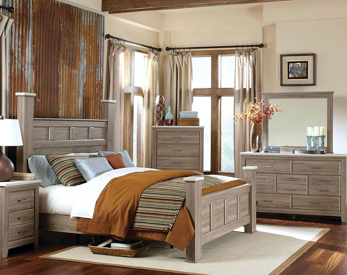 Panel Poster Bed Oak Finish Concrete Tops Stonehill Bedroom