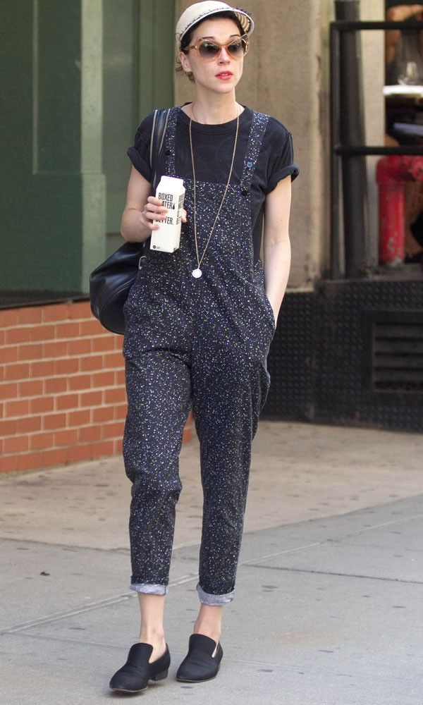 4a0d7abbd4 St.Vincent Styles Up A Pair Of Dot Print Dungarees