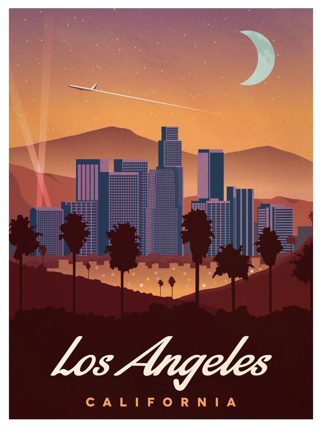 Poster design los angeles - Vintage Los Angeles Poster