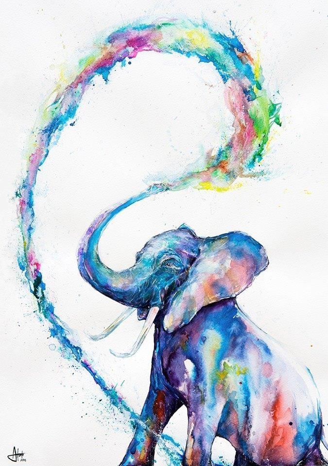 Elefante De Aquarela Com Imagens Desenhos Aquarela Animais
