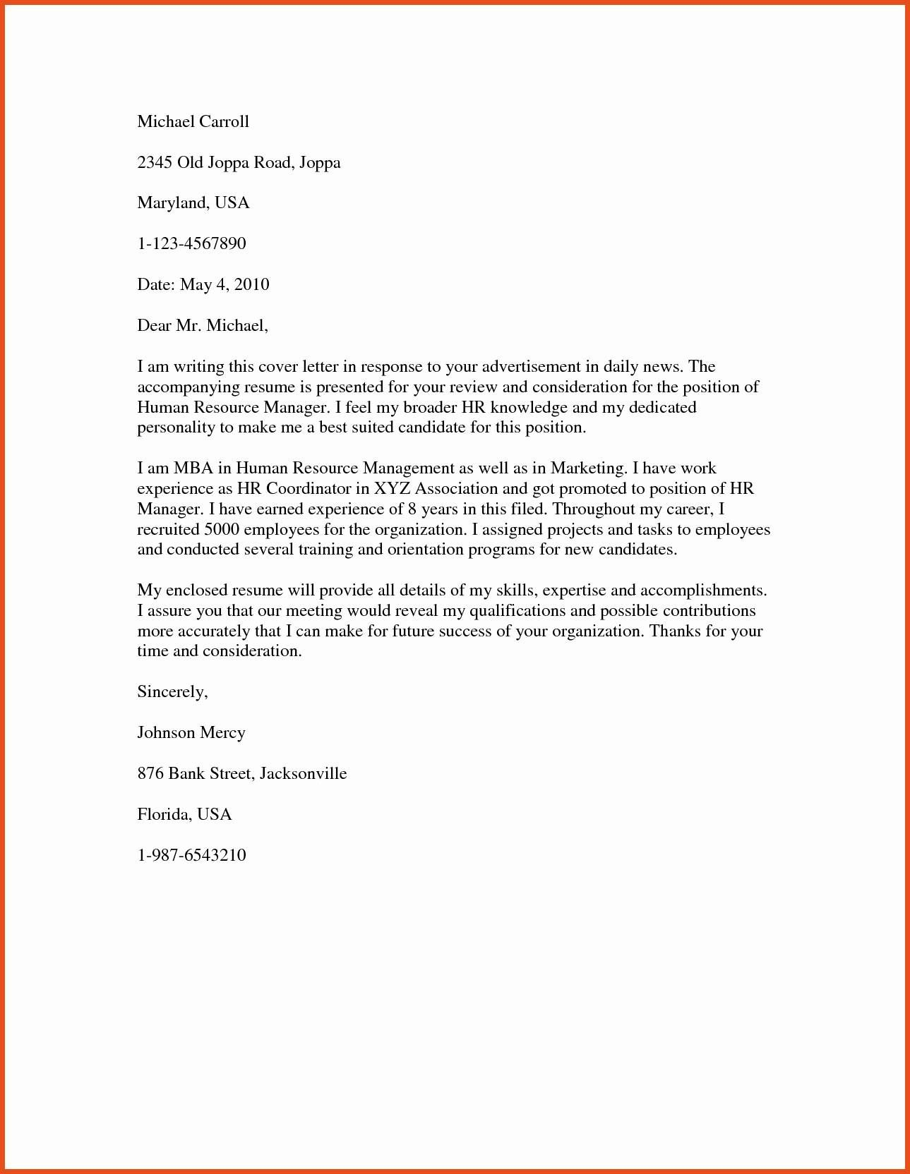 23  human resources cover letter