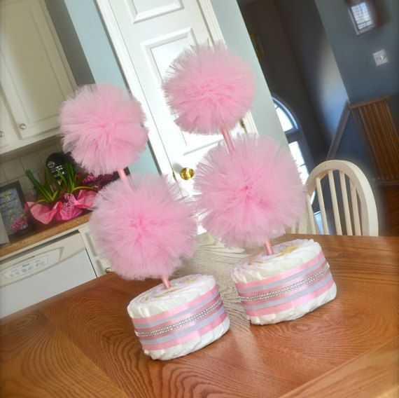Tulle Baby Shower Decoration Ideas unique baby shower centerpieces or decorations tulle pompom | jays