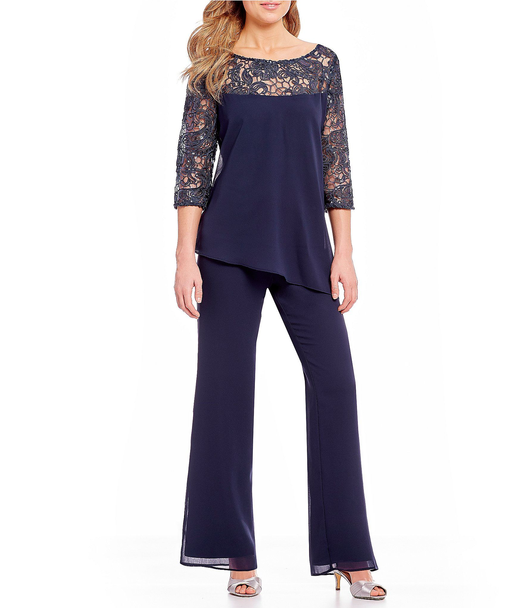 Shop For Le Bos Sequined Lace Tunic 2-Piece Pant Set At