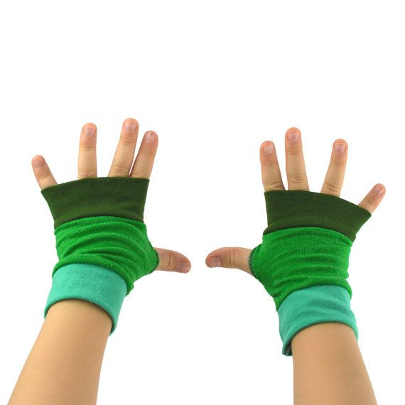 Toddler Arm Warmers in Green Ombre  Mediterranean by mirabeans