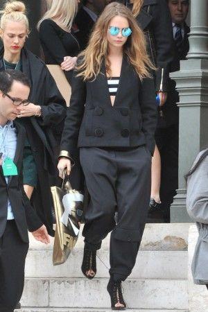 Cara Delevingne wearing Stella McCartney Stretch Bandeau Top and Stella McCartney Pre-Fall 2015