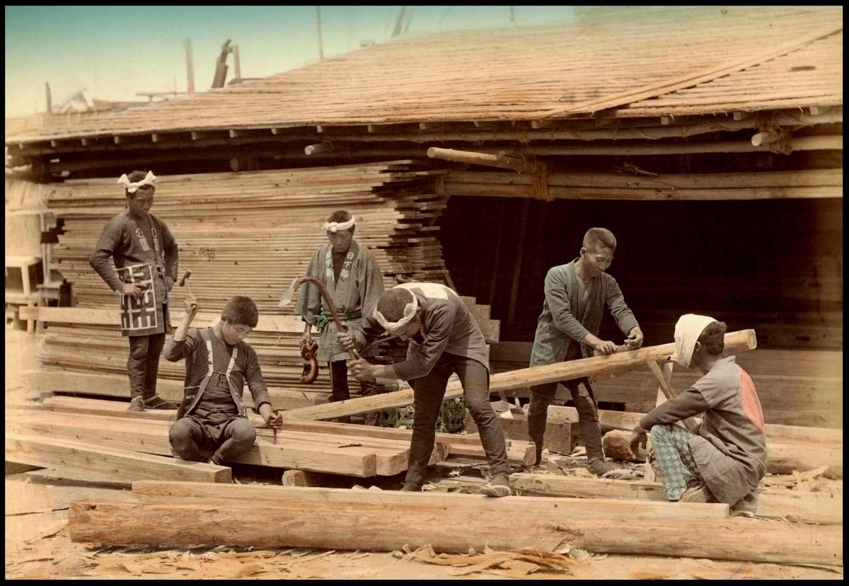 Tools Of The Trade Carpenters At A Local Lumber Yard In Japan Japanese Woodworking Japan Vintage Japan