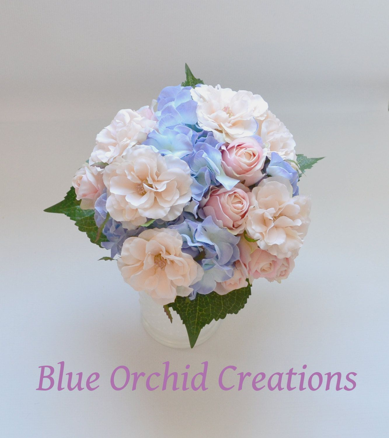 Pink Garden Rose And Hydrangea Bouquet hydrangea bouquet - blue hydrangeas, country wedding bouquet, blue