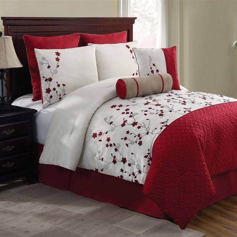 New Bed Bag Queen King 5 Pc Red White Fl Comforter Pillows Set Embroidered In A Ebay