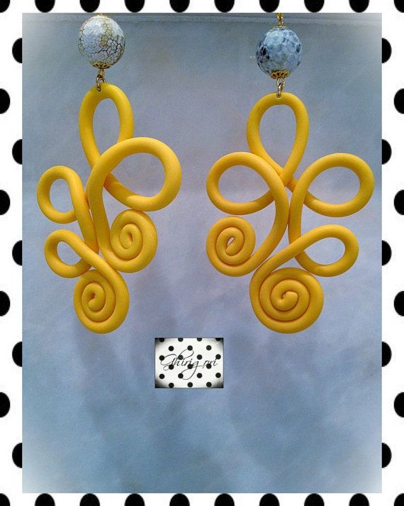 Yellow polymer clay earrings by ghjrigori on Etsy, $35.00