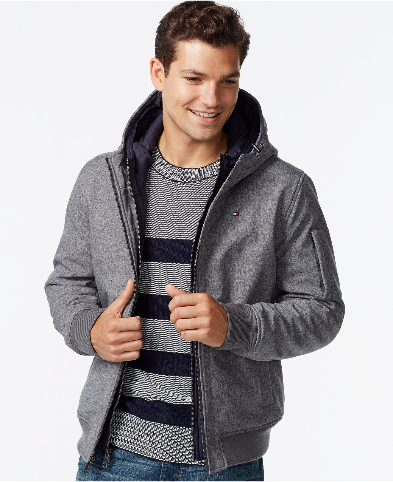 Tommy Hilfiger Soft Shell Hooded Bomber Jacket With Bib Reviews Coats Jackets Men Macy S Hooded Bomber Jacket Mens Big And Tall Bomber Coat [ 1616 x 1320 Pixel ]