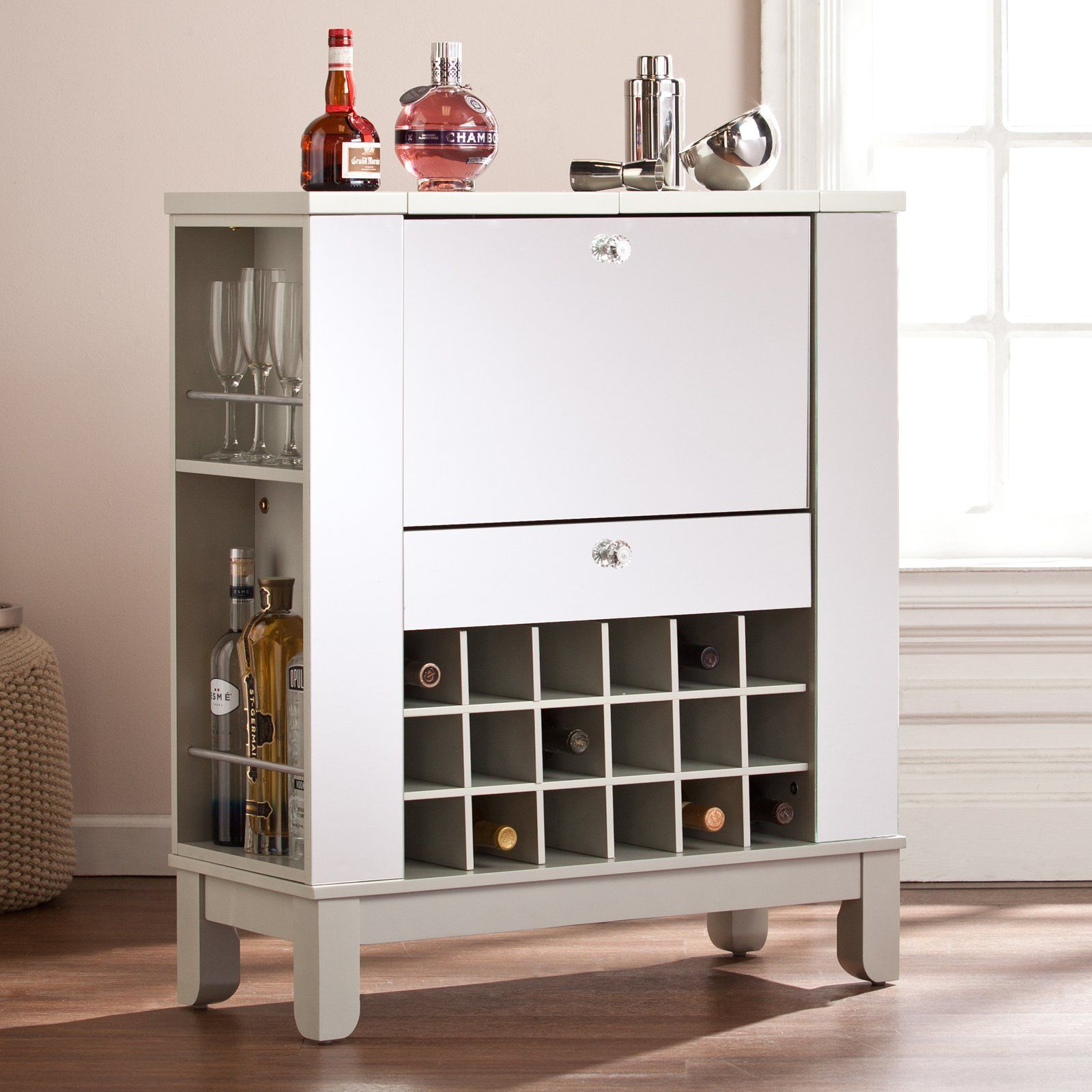 Southern Enterprises Mirage Mirrored Fold-Out Wine/Bar Cabinet ...