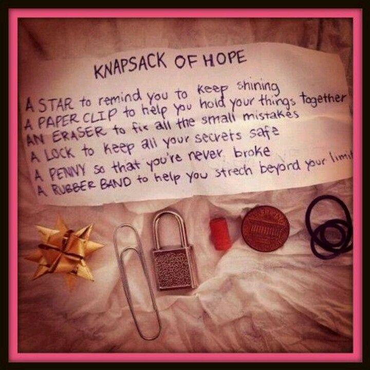 For struggling friends knapsack of hope graduation