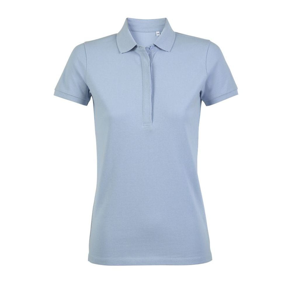 Womens Pique Polo Shirt With Concealed Placket PIQUE 215 100% cotton 215 gsm Short sleeves Ribbed collar and cuffs Concealed button placket 4 tone-on-tone buttons Side slits at bottom