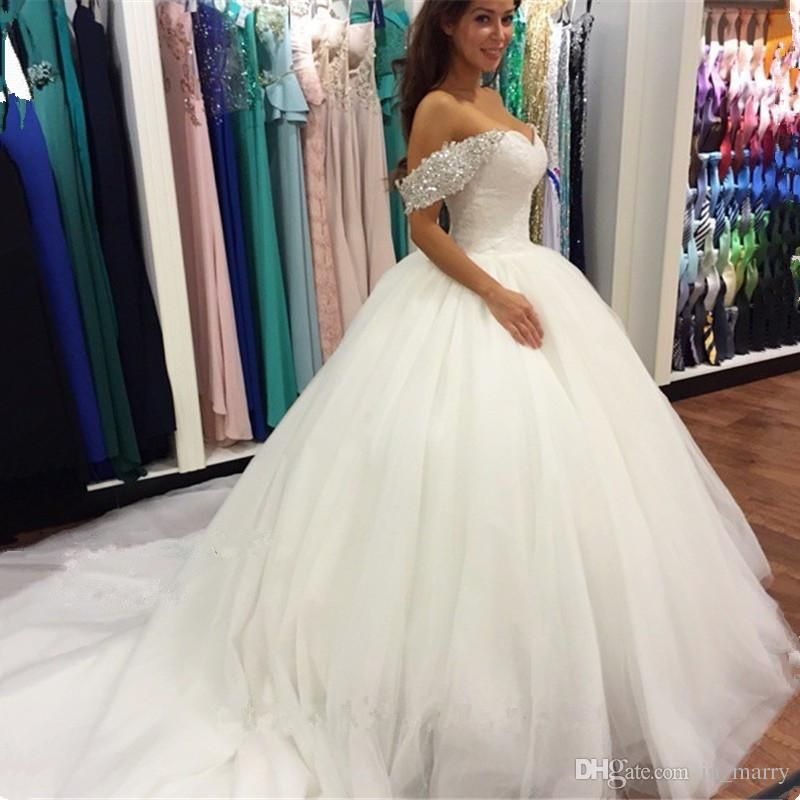 Romantic off shoulder arabic wedding dresses 2016 ball for Cheap wedding dresses in dubai